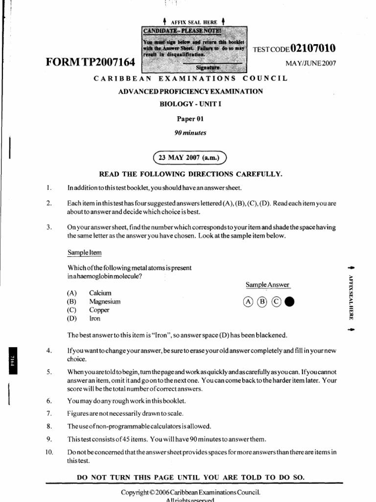 cape biology unit 1 2007 p1 past paper