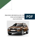 Procesul Decizional de Cumparare a Unui Autoturism Nou - Dacia Duster