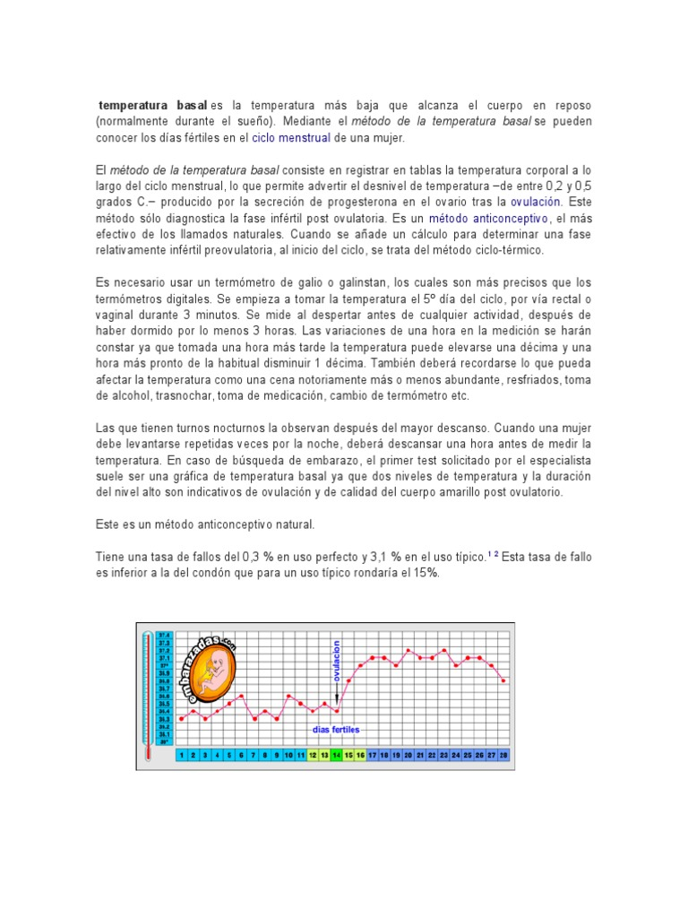 Basal temperatura anticonceptivo metodo natural