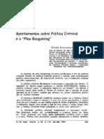 Apontamentos Sobre Política Criminal e a Plea Bargaining - by Wálter Maierovitch