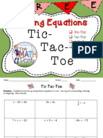Solving Equations Tictac Toe Activity