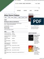 Aliens Versus Predator Cheats, Codes, And Secrets for PC - GameFAQs