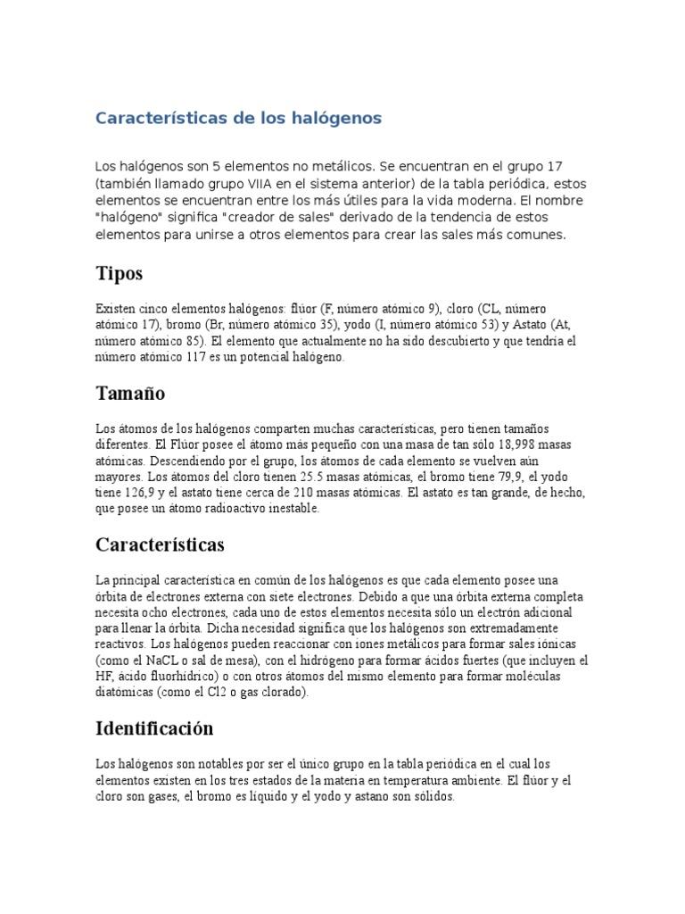 caractersticas de los halgenos - Tabla Periodica Grupo De Los Halogenos