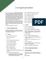 List of Surgical Procedures