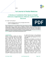 A Database o f Antidiabetic Plant Species  o f Family  Asteraceae, Euphorbiaceae, Fabaceae, Lamiaceae  a nd  Moraceae