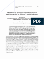 The effects of symmetrical and asymmetrical social interaction on children's logical inferences - Roazzi & Bryant, 1998