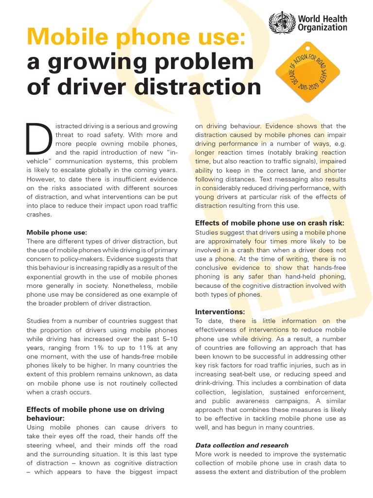 Distracted Driving Summary | Mobile Phones | Traffic Collision