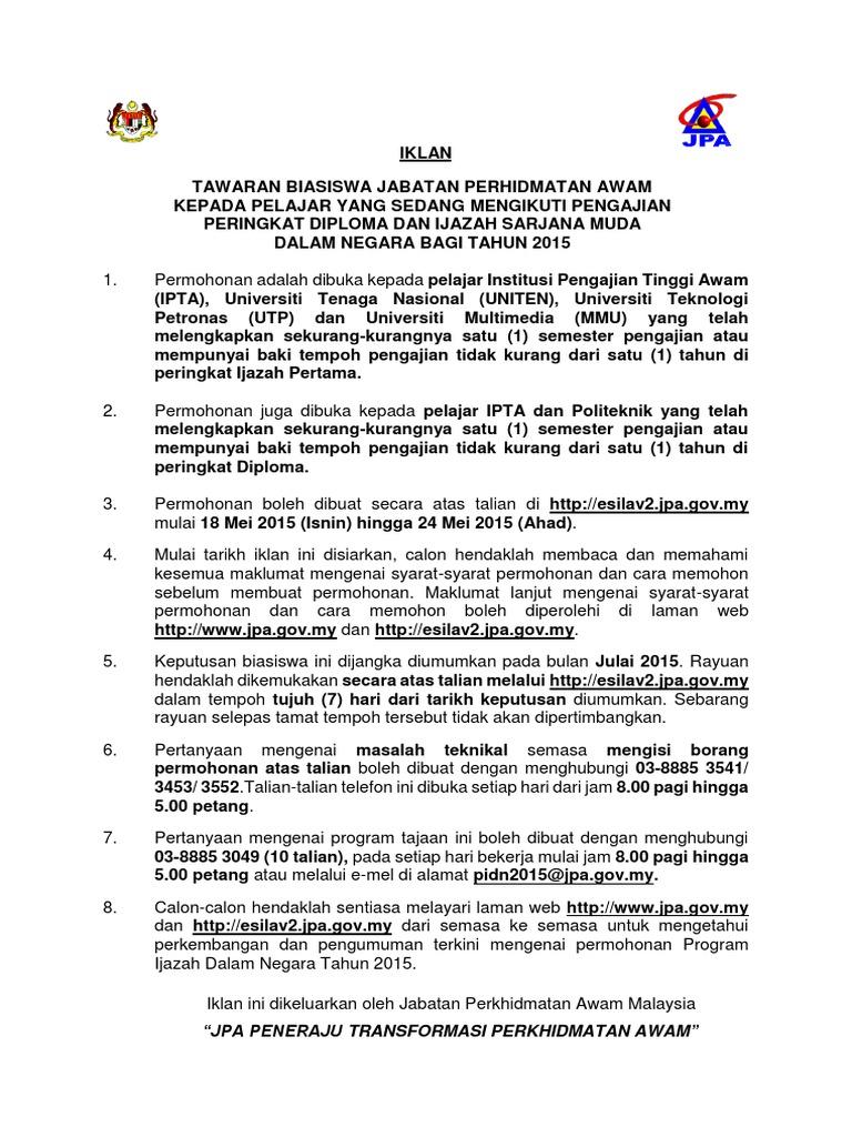 Permohonan Biasiswa Jpa Scholarships Pidn Pddn 2016 Scholarships Free Spm Tips 2020 By Student Malaysia Education Forum