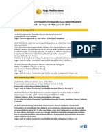 Agenda Actividades Destacadas. Del 21 de mayo al 7 de junio de 2015. Fundación Caja Mediterráneo