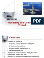 Lecture 10 - Monitoring and Controlling Project