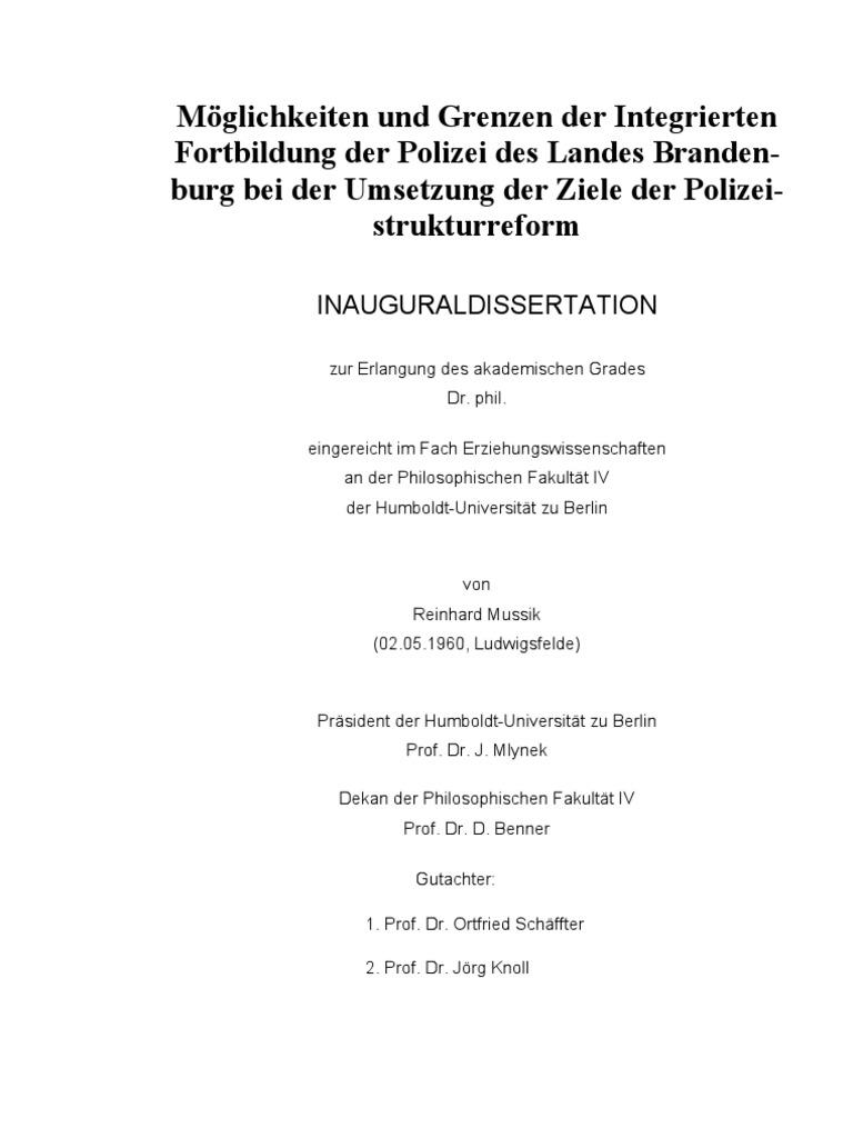 Möglichkeiten und Grenzen der Integrierten Fortbildung der Polizei ...
