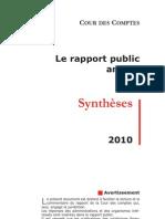 Synthèse du rapport annuel de la Cour des comptes
