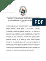 PronunciamienPronunciamiento de la Academia del estado Zulia sobre el Esequiboto de La Academia Sobre El Esequibo