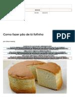 pão de ló -  Receita
