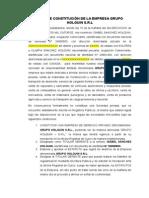 Acta de Constitución de La Empresa Grupo Holguin s.r.l