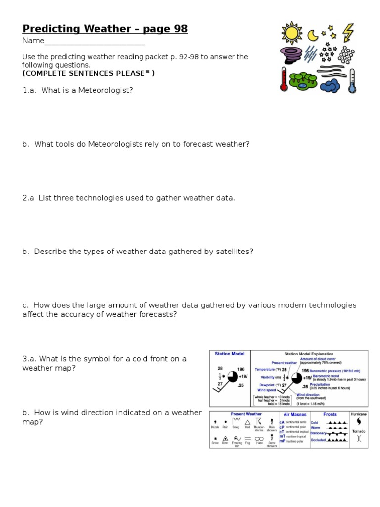 Worksheet Predicting Weather P 98