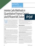 Monte Carlo Methods in Quantitative Finance Generic and Efficient MC Solver in C++