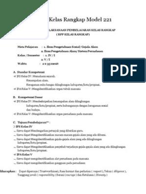 Rpp Kelas Rangkap Model 221 Kelas Rendah - IlmuSosial.id