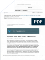 Initial communications from TVC to members about Jordan and Karen Root