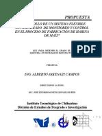 """Propuesta Tesis """"Desarrollo de un sistema flexible automatizado de monitoreo y control en el proceso de fabricación de harina de maíz"""""""