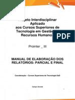 Prointer III 2014 1 TRH3 Manual de Elaboracao