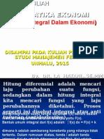 Materi Kuliah Matamatika Ekonomi Integral