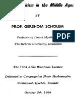 Gershom Scholem Jewish Mysticism in the Middle Ages