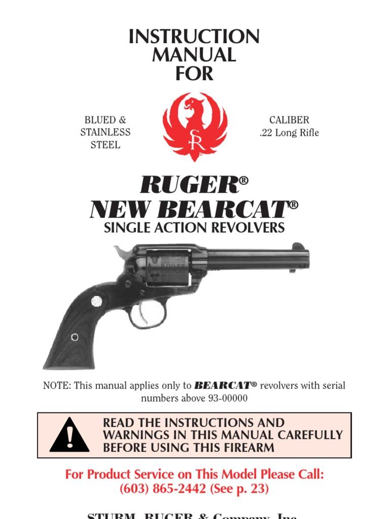 New Ruger Bearcat Manual | Revolver | Trigger (Firearms)