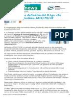D.lgs. Che Recepisce La Direttiva 2010 75 UE
