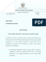 Media Release Re Power Supply Under Strain