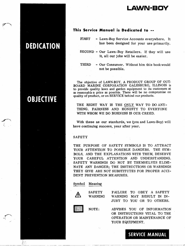 lawn boy service manual 1950 88 complete internal combustion rh es scribd com lawn boy service manual download lawn-boy service manual 1950-88 complete