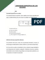 LABORATORIO N° 01 GRAVEDAD ESPECIFICA DE LOS SOLIDOS