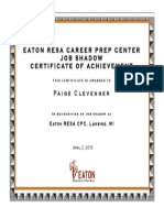 job shadow certificate
