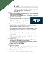 planning sheet
