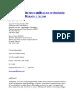 Influence of Diabetes Mellitus on Orthodontic Treatment