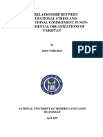 THE RELATIONSHIP BETWEEN OCCUPATIONAL STRESS AND ORGANIZATIONAL COMMITMENT IN NONGOVERNMENTAL ORGANIZATIONS OF PAKISTAN
