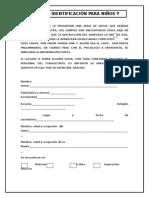 Ficha de Identificación Niños