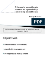 Management of One Lung Anaesthesia