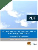 LA DEFENSA DE LA EMPRESA ANTE EL ESCENARIO ELECTORAL