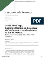 AliciaAltedVigil, LucienneDomergue, La Cultura Del Exilio Anarcosindicalista en El Sur de Francia