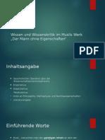 Wissen Und Wissenskritik Im Musils Werk _Der