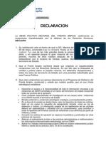 Declaración Mesa Política FA DDHH