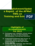 Accomplishment Report/Update Report of the AFMeC TWG on Training and Extension