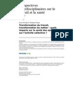 Pistes 1732-13-1 Transformation Du Travail Transformation Du Metier Quels Impacts Sur La Sante Des Operateurs Et Sur l Activite Collective