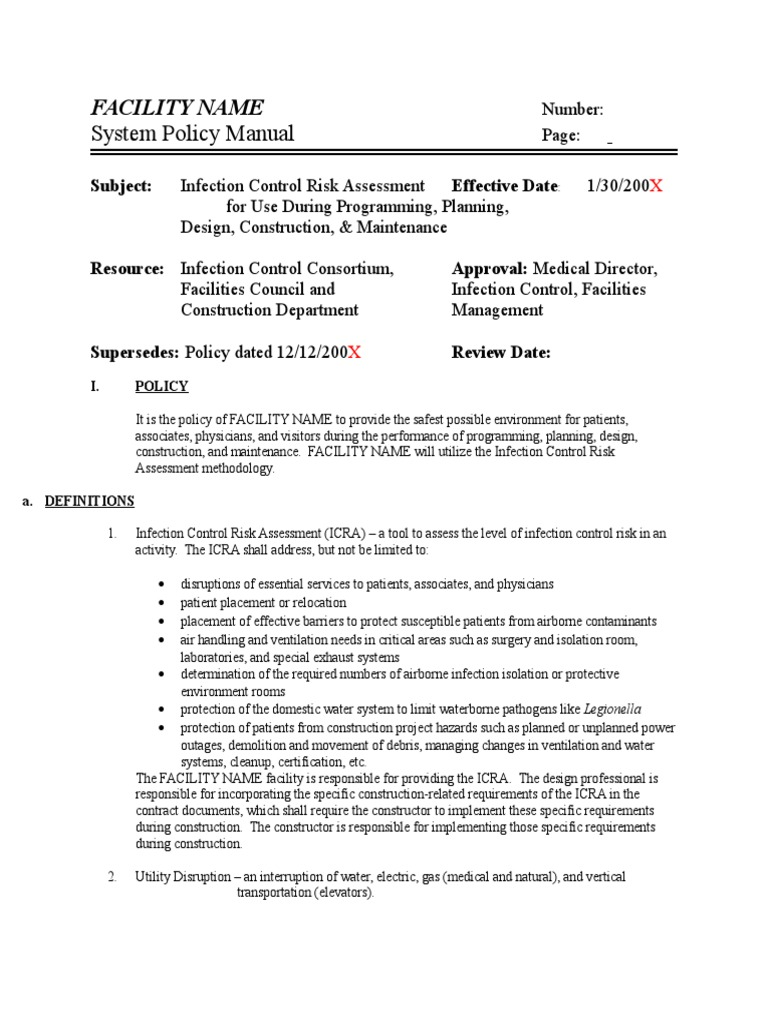 icra policy template duct flow infection control