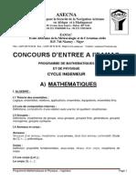 Programme Mathematiques Physique INGENIEUR