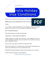 Australia Holiday Visa Conditions