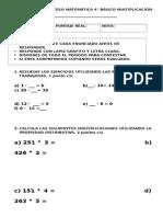 PRUEBA DE MATEMATICA MULTIPLICACIÓN 4° BÁSICO