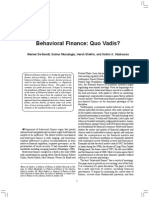 Behavioural Finance - Quo Vadis