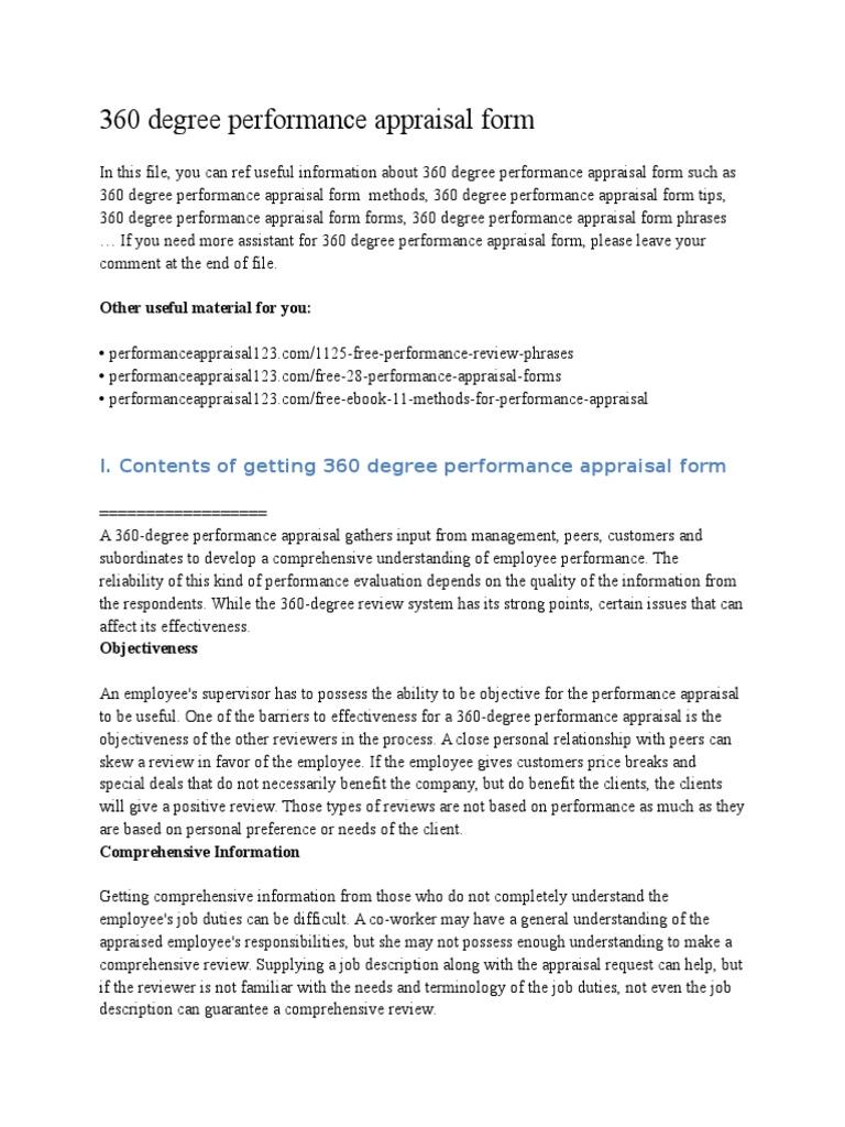 360 Degree Performance Appraisal Form   Performance Appraisal   Employment